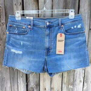 NWT Levi's High Rise Jean Shorts Blue 33